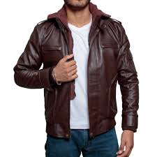 slim fit biker faux hooded leather jacket zoom high street