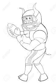 Coloring Book Bull Plays American Football Cartoon Style
