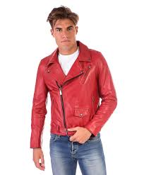 chiodo biker red perfecto lamb belted leather biker jacket