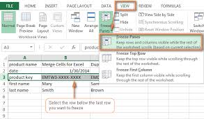 how to freeze panes in excel lock rows