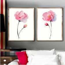 set of 2 watercolor peonies shabby chic wall decor peony watercolor painting abstract flower poster pink on chic wall art set with set of 2 watercolor peonies shabby chic wall decor peony watercolor