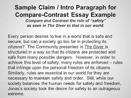 the giver in class writing assessment through the various sample claim intro paragraph for compare contrast essay example compare and contrast the role