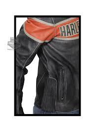 harley davidson mens victory lane orange stripe black leather jacket tap to expand