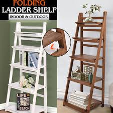 Image is loading Wooden-Ladder-Shelf-5-Tier-Stand-Storage-Book-