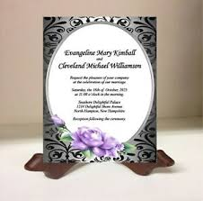 Black And Purple Invitations Details About 100 Personalized Wedding Invitations Cards Silver Black Lace Purple Rose Flower