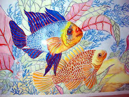 tropical fish meet watercolor painting