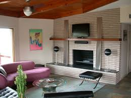 image of mid century modern fireplace with ceiling fun
