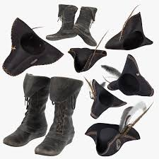 pirate hat leather boots model