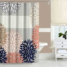 Majestic Squid Shower Curtain Coral Shower Curtain Navy Blue Pink  Showercurtain Bathroom Decor Squid Shower Curtain