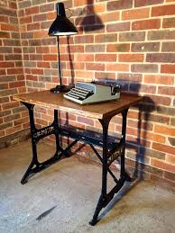 vintage singer sewing machine base desk table w oak top antique