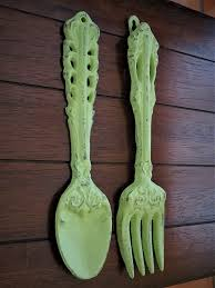 We also offer a personalized version where we carve your text into the spoon and fork. Fork And Spoon Wall Hanging Apple Green Or Pick Your Color Rustic Kitchen Wall Decor Cast Iron Wall Decor Oversized Utensils Decor