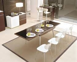 white modern dining room sets. Charming Modern Dining Room With Contemporary Sets Completed White Chairs And Elongated Table