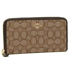 NWT F54633 Authentic COACH Signature Jacquard Accordion Zip Around Wallet  BROWN