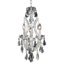 elegant lighting 4 light chrome pendant with clear crystal