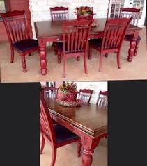 Image Room Chairs Sisters Revamp Ranch Red Painted Furniture Refurbished Furniture Refinished Table Furniture Makeover Furniture Italia Diy Red Kitchen Table Love This For The Kitchen Add Black And