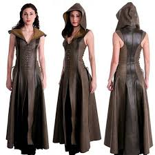 2019 women fashion y slim lace up leather meval ranger dress long dress sleeveless coats fashion cosplay costume costume from clemmenttt