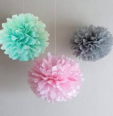 Tissue Paper Flower Centerpieces Amazon Com Somnr12pcs Mixed Mint Grey Pink Tissue Paper Pom