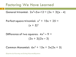 3 objective 6 4 factoring and solving polynomial equations