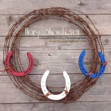 horseshoe barbed wire wreath western home decor by horseshoefever