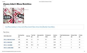jimmy johns menu nutritional information authorstream