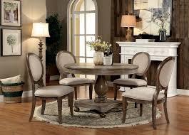 cm3872rt 5pc 5 pc siobhan rustic dark oak finish wood 48 round dining table set