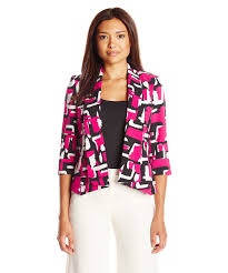 kasper petite abstract printed twill open front makali jacket style 460758801 v4u8sygmo5s3