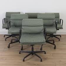 herman office chair. 6 x (set) herman miller eames fabric soft pad office chair - custom green