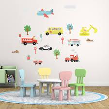 wall stickers uk wall art kitchen childrens decal ws nursery city transports aeo ilration transport