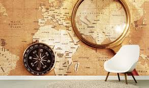 ceo and senior executives can have the world map wallpaper murals in their personal offices in tune with the décor of the rooms like the grunge blue map