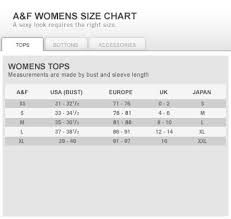 Abercrombie And Fitch Mens Size Chart Sizing Chart Choisir Latelier