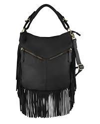 leather fringe concealed purse black