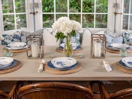 dining place settings. Palm Beach, Dining Room, Custom Beech Wood Table, Simple Cut Floral Centerpiece Place Settings