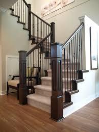 ... Staircase Railings Stair Railing Parts Dark Wooden Newel Handrail Riser  And Tread Black Metal ...