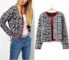 Online Buy Wholesale alphabet cardigan from China alphabet ... & Retro Red Color Package edge Alphabet Print Short Jacket Quilted Cardigan  Thin Padded Coats Outwear Tops Adamdwight.com