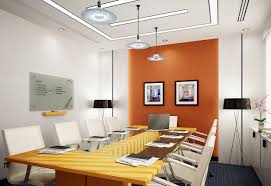 office kitchen pendant lighting with thin plate design over wooden office tble with white chairs