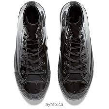 women converse chuck taylor all star patent leather hi top trainers black