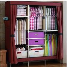 closet organizer storage rack triple portable clothes wardrobe closet cabinet garment rack with 2 free storage