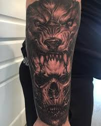 Wolf And Skull Tattoo By At Georgechronicink Skulls Tattoos