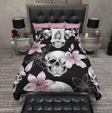 Skull Bedroom Pink Lilly Skull Duvet Bedding Sets Ink And Rags