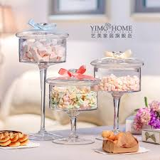 Decorative Glass Candy Jars European high grade glass candy jar transparent cover Storage 41