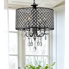4 light round crystal chandelier drum pendant ceiling lighting fixture lamp us
