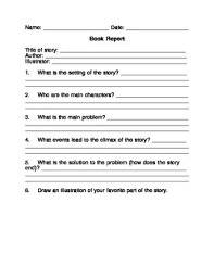 Free Book Report Templates Free Book Report Template For Any Fictional Story By Ann Stalcup