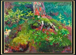 Мир художественного искусства Лесной пейзаж Молодые елочки 1928 Холст масло 25 7 х 29 8