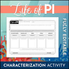 Editable Life Of Pi Animal Symbolism Chart Review Activity