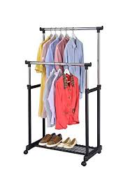 Rolling Coat Rack With Shelf Amazon Finnhomy Double Rail Adjustable Rolling Garment Rack 20