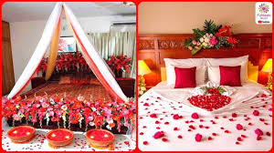 Room Decoration For Wedding Night With Lights Romantic Wedding Marriage Room Decoration Ideas Bridal