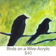 birds on a wire acrylic painting