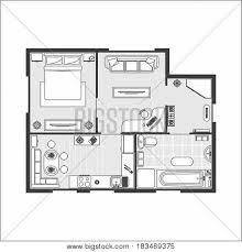floor plan furniture vector. Apartment Plan Witch Furniture Thin Line Scheme Of Floor Interior Design Set Top View. Vector