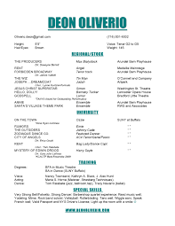 Get Musical Theatre Resume Template Sample Resume Cover Top