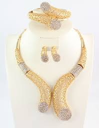 Gold Set Design Dubai Details About African Beads Jewelry Set Dubai Gold Crystal Women Wedding Party Necklace Ring